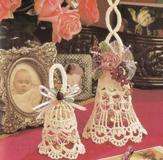 Love Knot Bells Crochet Patterns in 2 Sizes - Thread Crochet - Wedding Victorian Christmas