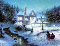 Moonlit Sleigh Ride Thomas Kinkade winter art for sale at Toperfect gallery. Buy the Moonlit Sleigh Ride Thomas Kinkade winter oil painting in Factory Price. Thomas Kinkade Art, Thomas Kinkade Christmas, Christmas Scenes, Christmas Art, Christmas Sleighs, Christmas Videos, Christmas Paintings, Victorian Christmas, Kinkade Paintings