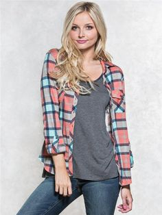 zoom image of Plaid Lace Back Shirt 2016 Pictures, Lace Back, Plaid, Clothes For Women, Denim, Shirts, Shopping, Tops, Style