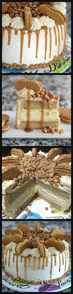 Peanut Butter Cheesecake Layer Cake, I would put white chocolate Reese cups & still have a thick graham cracker crust Cheesecake Cake, Cheesecake Recipes, Dessert Recipes, Just Desserts, Delicious Desserts, Yummy Food, Desserts For A Crowd, Fancy Desserts, Cupcake Cakes