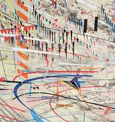 Julie Mehretu Stadia I (detail) 2004 108 x 144 in. (274.3 x 365.8 cm) Ink and acrylic on canvas Photo: Richard Stoner