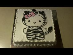 How to Make a Hello Kitty Zebra Birthday Cake (How to create & transfer image) Cupcakes, Cupcake Cakes, Hello Kitty Cake Design, Zebra Birthday Cakes, Biscuits, Cake Youtube, Cake Decorating, Decorating Ideas, Party Time