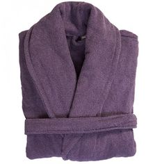 This is a #grape_purple shade #bathrobe which comes in the #terry_towel fabric. Its a full length robe which we are offering in 2 sizes from stock.