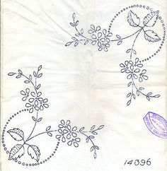 Floral Corner Design ~ Vintage Art Deco ~ Iron-on Embroidery Transfer 327