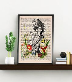 Alice in wonderland print on Music sheet Alice with wild by PRRINT