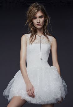 This Vera Wang hand applique lace mini dress has the perfect fun factor for post-ceremony dance time. Available at Vera Wang Bride. Sweet Wedding Dresses, 2015 Wedding Dresses, Bridal Dresses, Wedding Gowns, Bridesmaid Dresses, Wedding Bride, Lace Wedding, Prom Dresses, Vera Wang Bridal