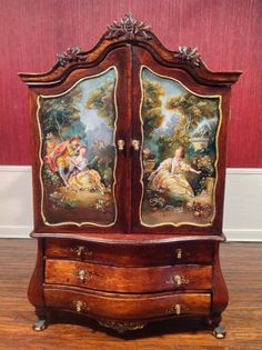 IGMA Artist Johannes Landman Painted Armoire/Baby House OOAK Signed & dated