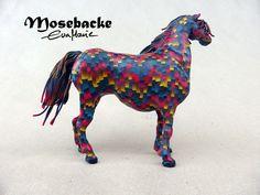 Bargello horse sculpture in polymer clay