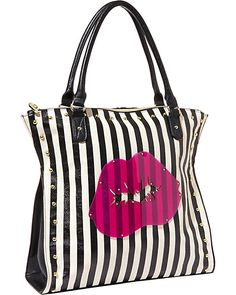 Betsey Johnson.  CLEAR TO ME TOTE BLACK-WHITE accessories handbags non leather totes