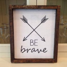 Wood Sign panel wall art 14 x 13 Be Brave Tribal framed by bugluv