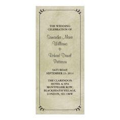 Romantic Elegant Vintage Antique Wedding Programs