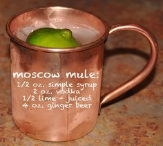 Moscow Mule. Love this drink.  Tip was to useRose's Lime Juice, as it already has syrup in it.