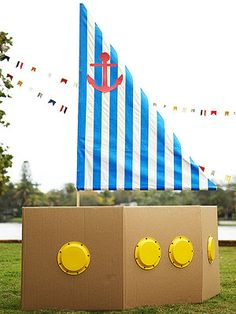 Cardboard boat- Think I'll make this for Wes's birthday party for the kiddos to play in.  But I think I'll make it AWESOME.