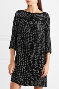A.P.C. Atelier de Production et de Création - Embroidered Polka-dot Crepon Mini Dress - Black - FR38