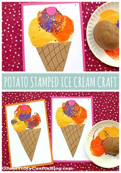 Potato Stamped Ice Cream Cards – Kid Craft For Summer Preschool Painting, Painting Activities, Painting For Kids, Preschool Crafts, Kids Crafts, Summer Crafts For Toddlers, Easy Art For Kids, Toddler Crafts, Beach Crafts For Kids