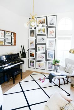 3-column gallery wall with black frames