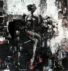 Usando revistas de reciclagem, etiquetas e outros materiais encontrados, Derek Gores, criou essa e outras obras-primas brilhantes, sobre tela.