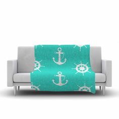 """afe images """"Anchor And Helm Wheel""""  Fleece Throw Blanket from KESS InHouse"""
