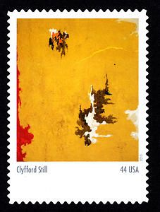 "Leading Abstract Expressionist painter Clyfford Still was born today in 1904. His ""1948-C"" on a stamp"
