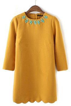 Beads Collar Wave Hem Dress
