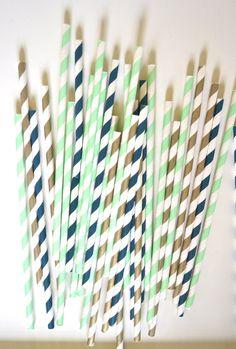 gold/mint/navy paper straws... reception idea?