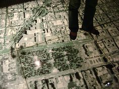 This is a walkable map of the Centro Historico of D.F., part of a permanent exhibit about the city at the Museo de la Ciudad de Mexico.     Would love to replicate in kids rooms on the wall at least.