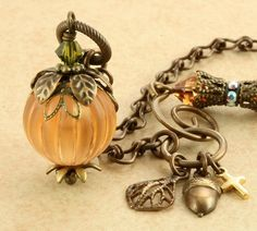Orange Pumpkin Necklace Halloween Necklace by ForTheCrossJewelry