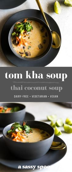 An easy, dairy-free, lightened up version of Tom Kha Soup (Thai coconut soup) made with coconut milk, ginger, spices and veggies. dinner menu The Best Tom Kha Soup Easy Soup Recipes, Vegan Recipes, Cooking Recipes, Thai Vegetarian Recipes, Tom Yum Kha Soup Recipe, Tom Kha Soup Recipe Vegan, Thai Recipes, Tom Yum Soup Vegetarian, Veggie Soup Recipes