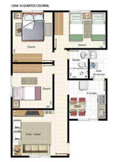 plantas de casas com 2 quartos com cozinha americana10