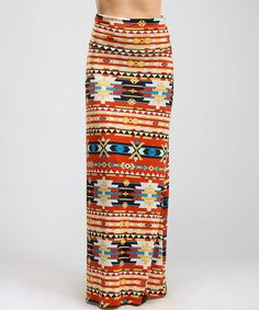 Another great find on #zulily! Rust & Orange Tribal Maxi Skirt - Women #zulilyfinds
