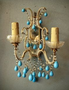 Beautiful..from Paris, Circa 1930. Hand-beaded frame with mirrored backs.    Turquoise blue, glass beads. Gold Leaf metal frames.