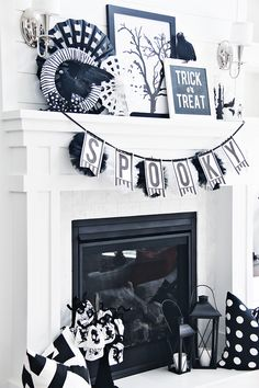 Pretty black and white Halloween decor for your mantle this year! The perfect…
