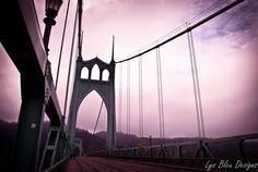 3 canvas piece  St. John's Bridge Portland OR  by LysBleuDesigns, $350.00