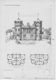 Villas and modern villas: projects and sketches of facades and plants Tav. Architecture Drawings, Historical Architecture, Architecture Design, Architectural Antiques, Architectural Elements, Castle Layout, Old Style House, Rpg Map, Vintage House Plans