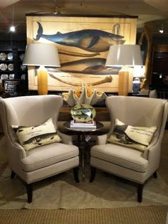 Whale Chart & Wing Chairs
