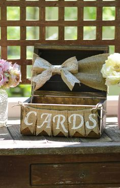 This card box is as cute as can be and make a perfect accent to your rustic wedding decor! The box is made from solid wood with a dark stain