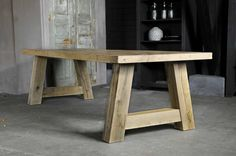Furniture Stores In Maryland Referral: 9018247530 Outdoor Wood Table, Outdoor Table Settings, Dining Table With Bench, Slab Table, Diy Outdoor Furniture, Dining Table Chairs, Patio Table, Rustic Furniture, Diy Furniture