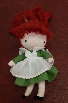 VTG Joan Walsh Anglund Pocket Doll Wolfpit Japan Red Hair Green Dress 1970 #WolfpitEnterprises