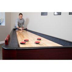 Shop Challenger 9-Ft Shuffleboard Table - Dark Cherry Finish - Overstock - 6217673 Shuffleboard Games, Mdf Cabinets, Cherry Finish, Table Sizes, Built In Storage, Walnut Finish, Butcher Block Cutting Board, Game Room, Hardwood