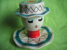 Italian Ceramic Egg Cup Woman's Head with Removal Hat Cover