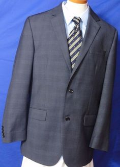 Izod Men's Polyester blend 2 button Glen Plaid Multi color Suit Size 42L #IZOD #TwoButton