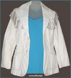 80s Vintage Jacket White Leather Fringe with Cool Details and Fancy Over Stitching Small from nowandthenstyle, $65.00