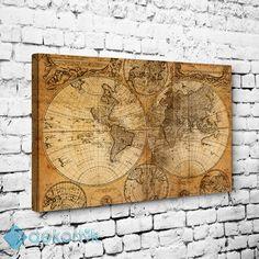 World Map Tablo I #vintage_kanvas_tablo #retro_kanvas_tablo