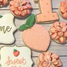 1st Birthday Party For Girls, First Birthday Pictures, 13th Birthday Parties, Baby Birthday, Birthday Party Themes, Birthday Ideas, Peach Party, Orange Party, Peach Cookies