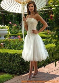 Schönes kurzes Brautkleid A-Line mit Spitze 2012