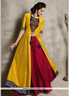 indian designer wear Delectable Embroidered Maroon and Yellow Party Wear Kurti Lehenga Choli Designs, Kurta Designs, Kurti Designs Party Wear, Dress Designs, Latest Kurti Designs, Silk Dress Design, Crop Top Designs, Ghagra Choli, Indian Gowns Dresses