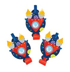 Rocket Party Blowouts (6).  Blast off with these blowouts!  Blowouts are a favourite at any party! With these colourful paper blowouts on your party table or in goody bags, your Outer Space or Rocket themed birthday party is sure to be lots of fun!