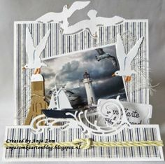 Card made by DT member Anja with Craftables Folding Dies Wave (CR1276) and Seagulls (CR1277), Tiny's Ocean Set (CR1279) by Marianne Design