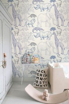 blue and white nursery decor, modern nursery decor, minimalist kid room decor, scandinavian kid bedroom or white and blue nursery decor with animal wallpaper, Jungle animals removable wallpaper sketched colorful. Artwork for children's rooms Wallpaper Floor, Boys Wallpaper, Wallpaper Jungle, Animal Wallpaper, Wallpaper Wallpapers, Wallpaper In Bedroom, Wallpaper Childrens Room, Playroom Wallpaper, Beige Wallpaper