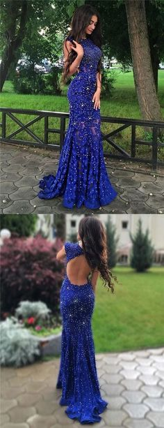 2017 prom dresses,Exquisite Jewel Sweep Train Royal Blue Lace Mermaid Prom Dress with Beading Open Back women's fashion